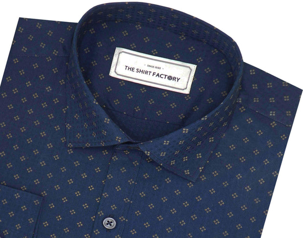Men's Cotton Printed Shirt Navy (0242) - Theshirtfactory