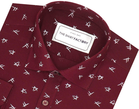 Men's Premium Cotton Printed Shirt for Men Red (1027) - Theshirtfactory