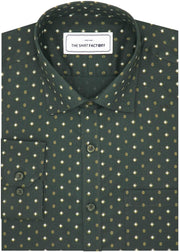 Men's Cotton Printed Shirt - Seaweed Green (0621)