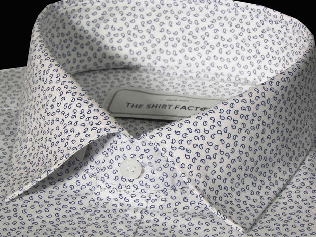 Men's Cotton Printed Shirt - White (0831) - Theshirtfactory