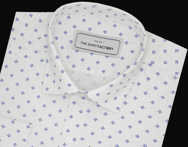 Men's Cotton Printed Shirt - White (0836) - Theshirtfactory