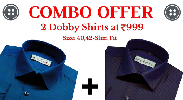 Men's Dobby Combo Of 2 Casual Pure Cotton Shirts - Blue and Steel Grey - Theshirtfactory