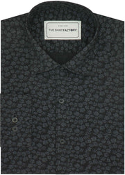 Men's Premium Cotton Printed Shirt - Black (0617) - Theshirtfactory