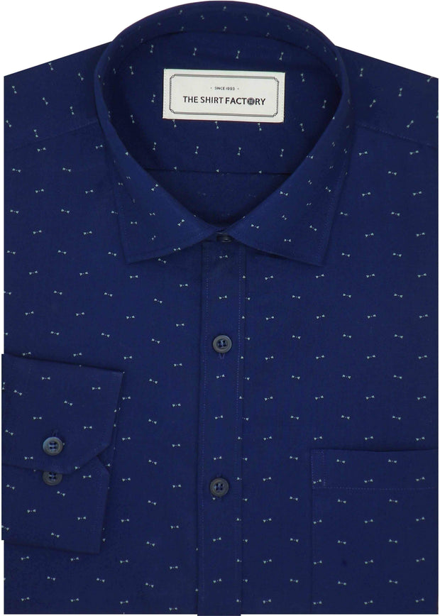 Men's Premium Cotton Printed Shirt - Navy Blue (0353) - Theshirtfactory
