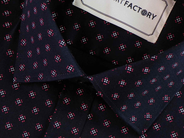 Men's Premium Cotton Satin Printed Shirt - Navy (0614) - Theshirtfactory