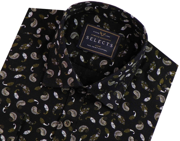 Selects Linen Cotton Blended Printed Shirt - Black (0641) - Theshirtfactory