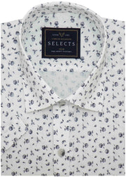 Men's Cotton Printed Shirt Linen Finish Shirt - White (0580)