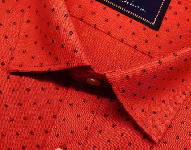 Selects Cotton Printed Shirt Linen Finish - Deep Orange (0584) - Theshirtfactory
