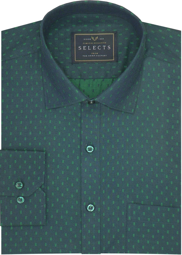 Selects Cotton Dobby Printed Shirt for Men Green (0443) - Theshirtfactory