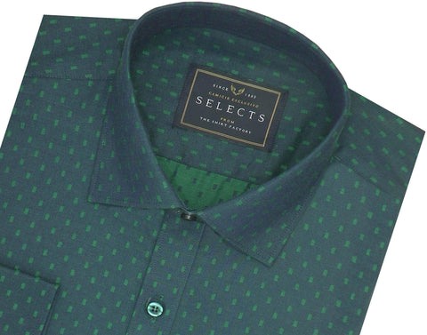 Selects Cotton Dobby Printed Shirt Green (0443) - Theshirtfactory