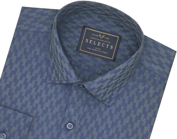 Selects Cotton Dobby Printed Shirt for Men Navy Blue (0445) - Theshirtfactory