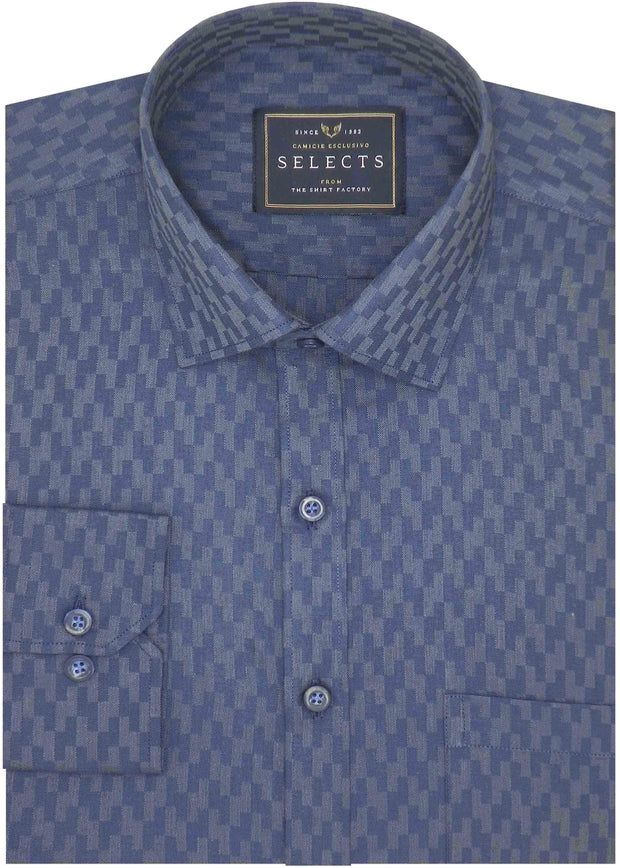 Selects Cotton Dobby Printed Shirt Navy Blue (0445) - Theshirtfactory