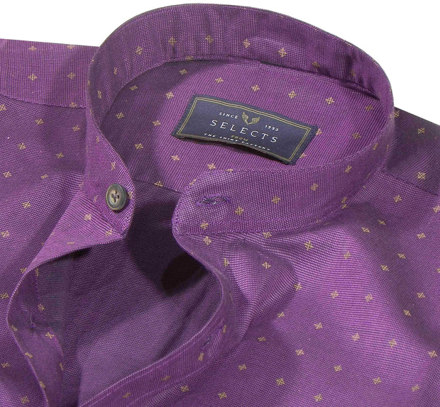Selects Giza Cotton Printed Shirt with Mandarin Collar - Purple (0451-MAN)