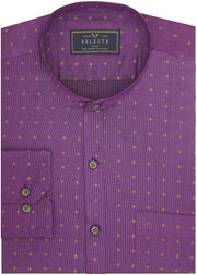 Selects Giza Cotton Printed Shirt with Mandarin Collar - Purple (0451-MAN) - Theshirtfactory