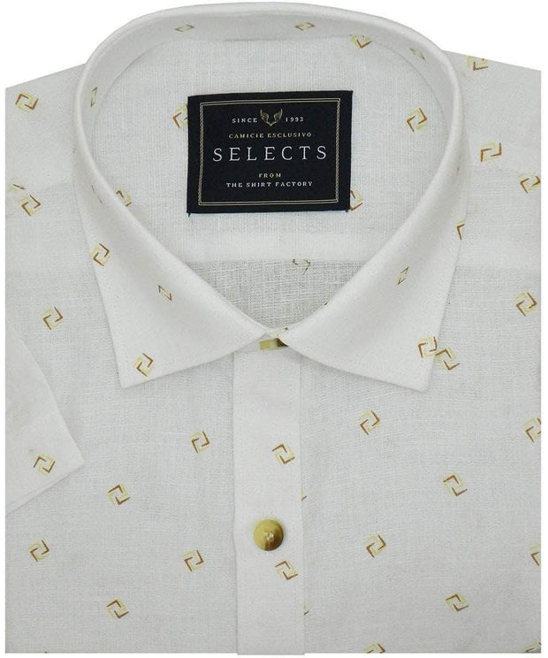 Selects Linen Cotton Blended Printed Shirt - White (0876) - Theshirtfactory