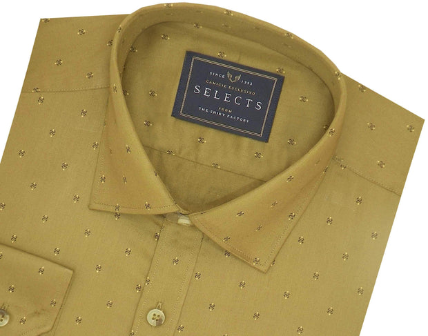 Selects Premium Cotton Printed Shirt for Men Khaki - (0925)