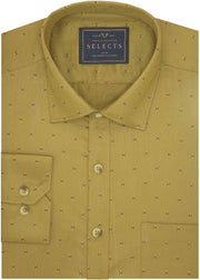Selects Premium Cotton Printed Shirt Khaki - (0925) - Theshirtfactory