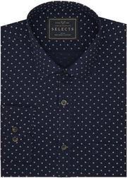 Selects Premium Cotton Printed Shirt for Men Navy Blue (0620) - Theshirtfactory