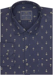 Selects Premium Cotton Printed Shirt for Men Navy Blue - (0919)