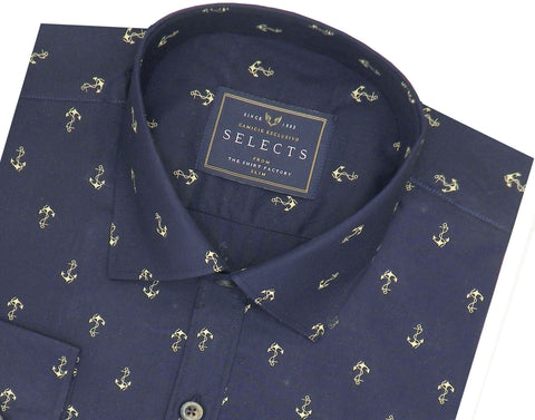 Selects Premium Cotton Printed Shirt for Men Navy Blue - (0919) - Theshirtfactory