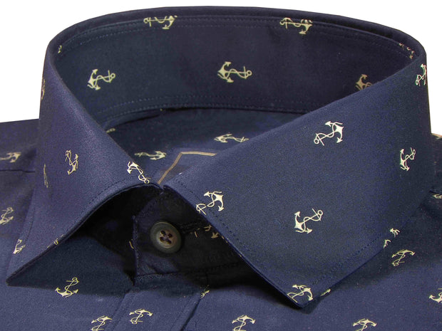 Selects Premium Cotton Printed Shirt Navy Blue - (0919) - Theshirtfactory