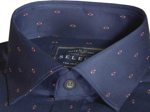 Selects Premium Cotton Printed Shirt Navy Blue - (0923) - Theshirtfactory
