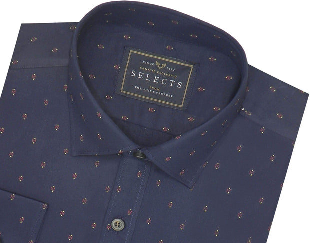 Selects Premium Cotton Printed Shirt for Men Navy Blue - (0923)
