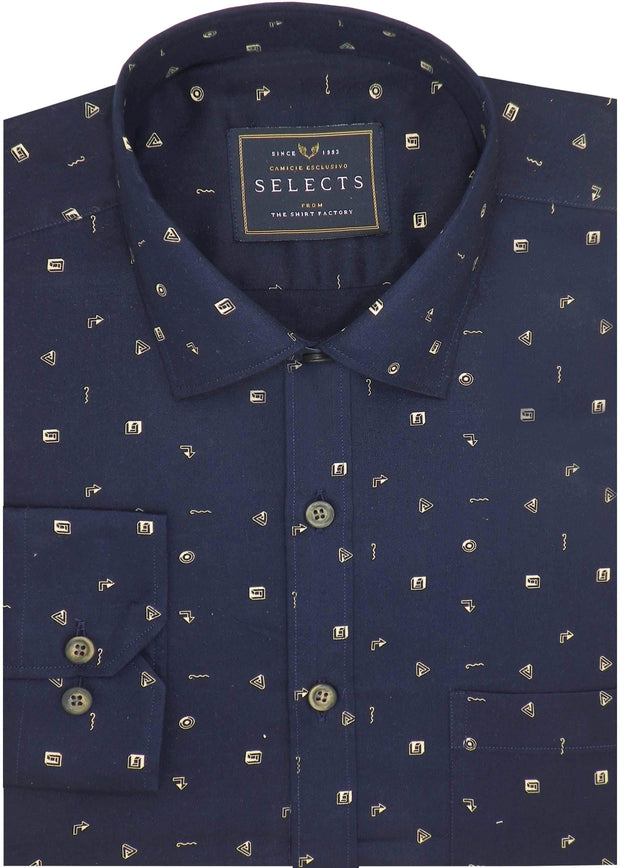 Selects Premium Cotton Printed Shirt for Men Navy Blue - (0928)