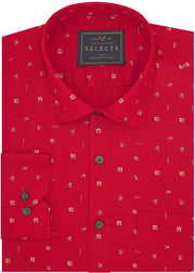 Selects Premium Cotton Printed Shirt Red - (0927) - Theshirtfactory