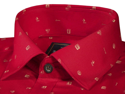 Selects Premium Cotton Printed Shirt for Men Red - (0927)
