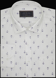 Selects Premium Cotton Printed Shirt for Men White - (0918)