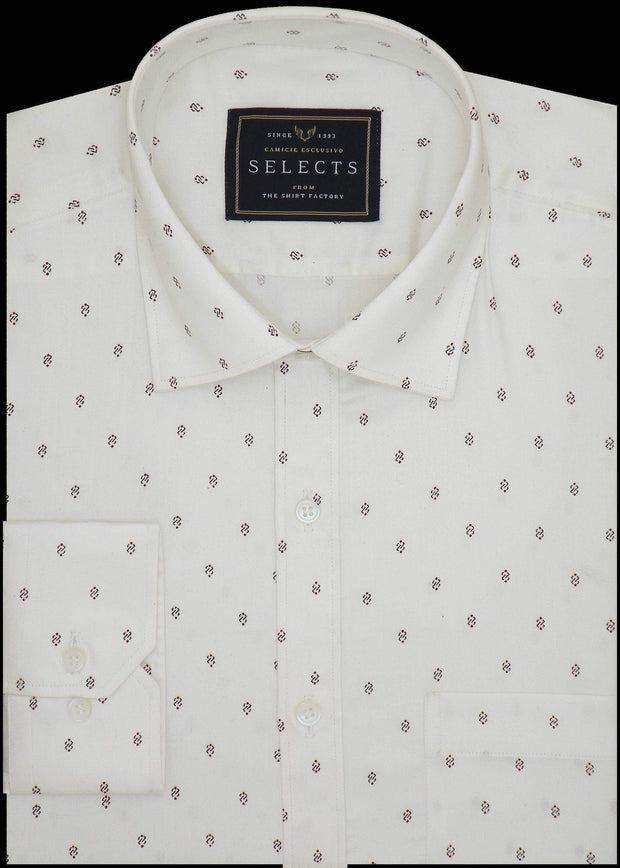 Selects Premium Cotton Printed Shirt for Men White - (0924)