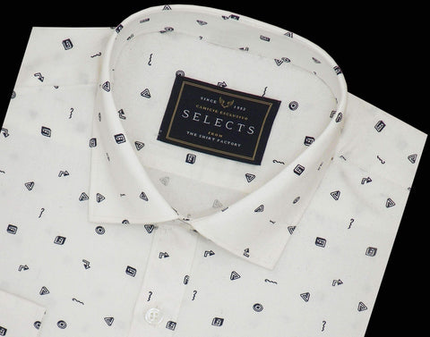 Selects Premium Cotton Printed Shirt White - (0926) - Theshirtfactory