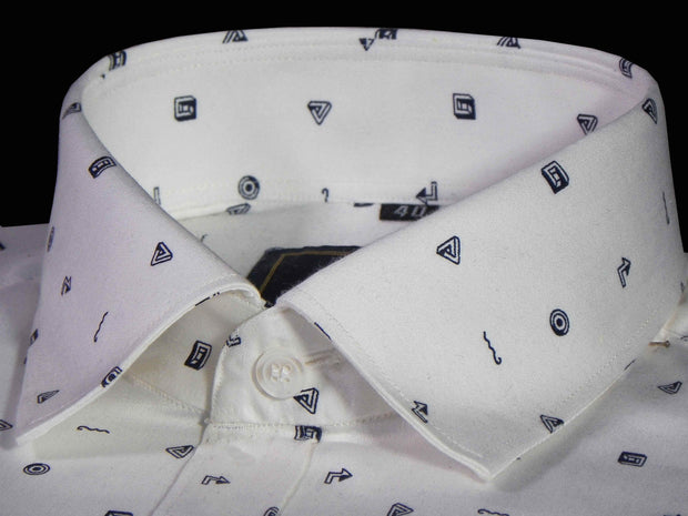 Selects Premium Cotton Printed Shirt for Men White - (0926) - Theshirtfactory