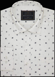 Selects Premium Cotton Printed Shirt for Men White - (0926)