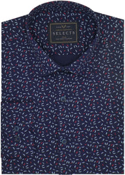 Selects Premium Cotton Printed Shirt - Navy Blue (0500) - Theshirtfactory