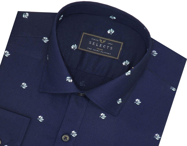 Selects Premium Cotton Satin Printed Shirt for Men Navy - (0943)