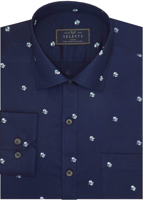 Selects Premium Cotton Satin Printed Shirt Navy - (0943) - Theshirtfactory