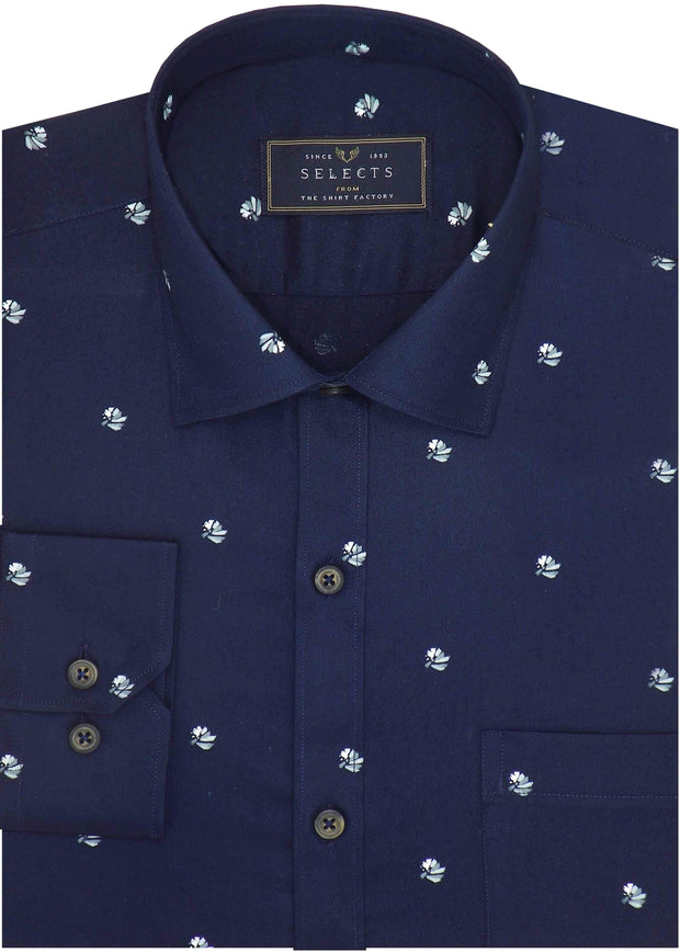 Selects Premium Cotton Satin Printed Shirt for Men Navy - (0943) - Theshirtfactory