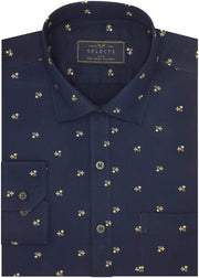 Selects Premium Cotton Satin Printed Shirt for Men Navy - (0985)