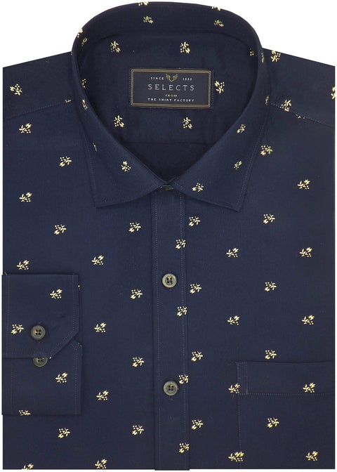 Selects Premium Cotton Satin Printed Shirt for Men Navy - (0985) - Theshirtfactory