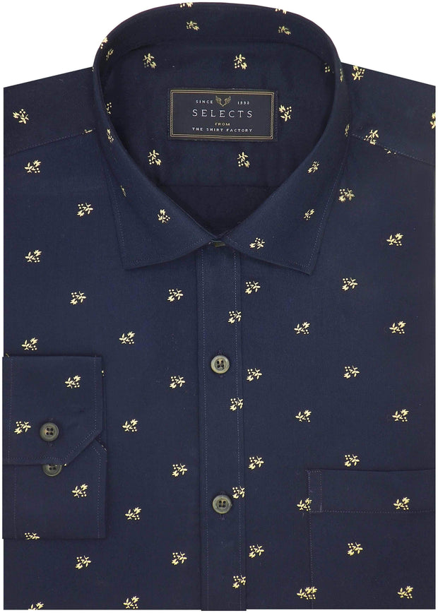 Selects Premium Cotton Satin Printed Shirt Navy - (0985) - Theshirtfactory