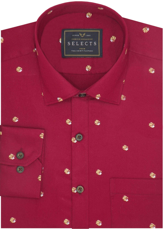 Selects Premium Cotton Satin Printed Shirt for Men Red - (0945)