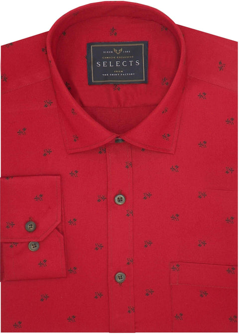 Selects Premium Cotton Satin Printed Shirt Red - (0983) - Theshirtfactory