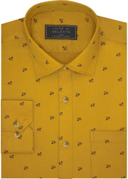 Selects Premium Cotton Satin Printed Shirt for Men Yellow - (0984)