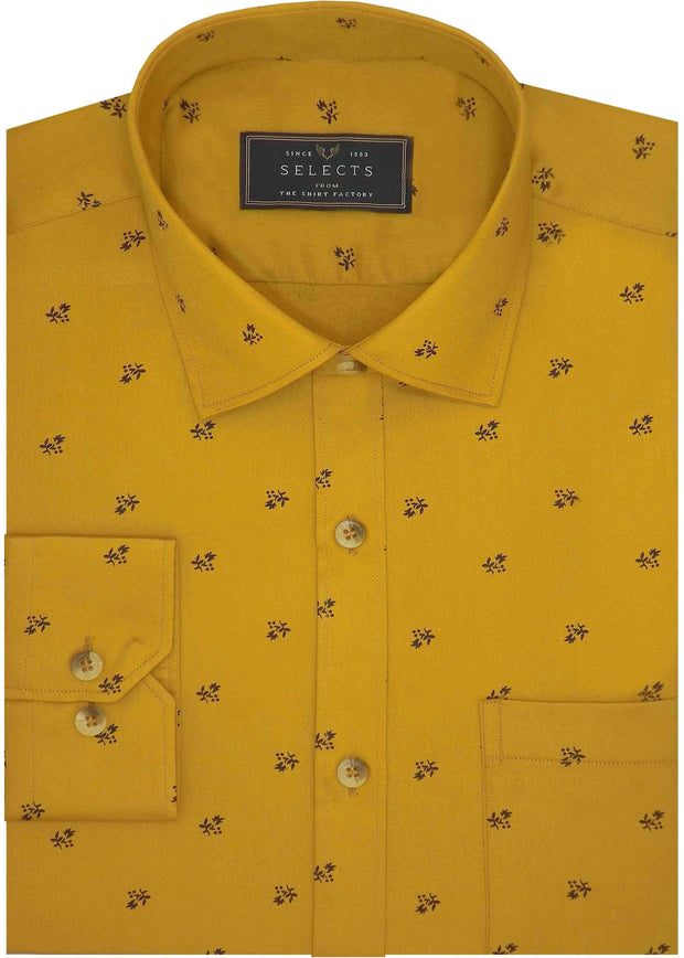 Selects Premium Cotton Satin Printed Shirt Yellow - (0984) - Theshirtfactory
