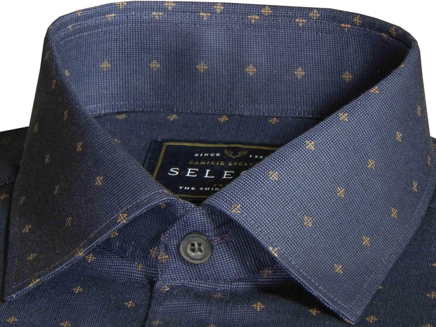 Selects Premium Giza Cotton Printed Shirt for Men Light Blue - (0450)