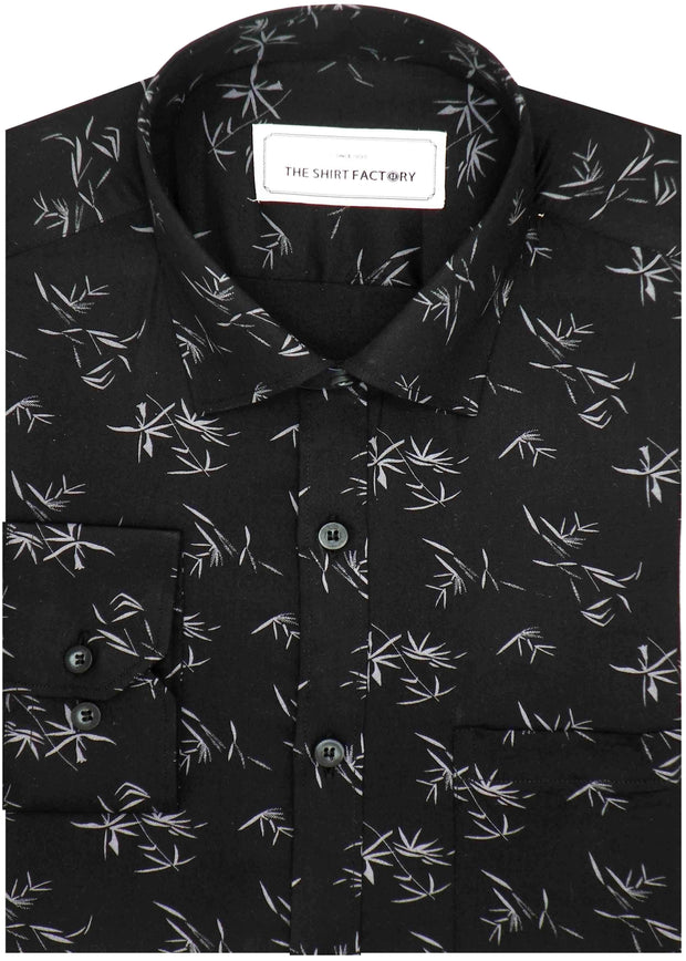 Men's 100% Cotton Printed Shirt - Black (0821) - Theshirtfactory