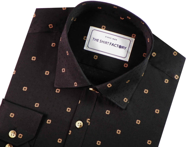 Men's 100% Cotton Printed Shirt - Black (0340) - Theshirtfactory
