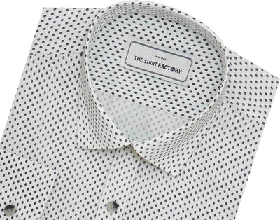 Men's 100% Cotton Printed Shirt - White (0351) - Theshirtfactory